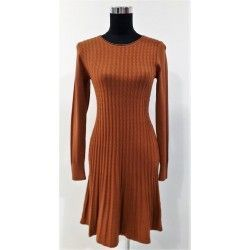 Comfortable and versatile on-trend dress in camel cable knit