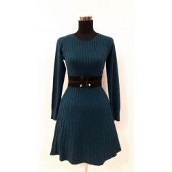 Comfortable and versatile trend dress in blue cable fabric