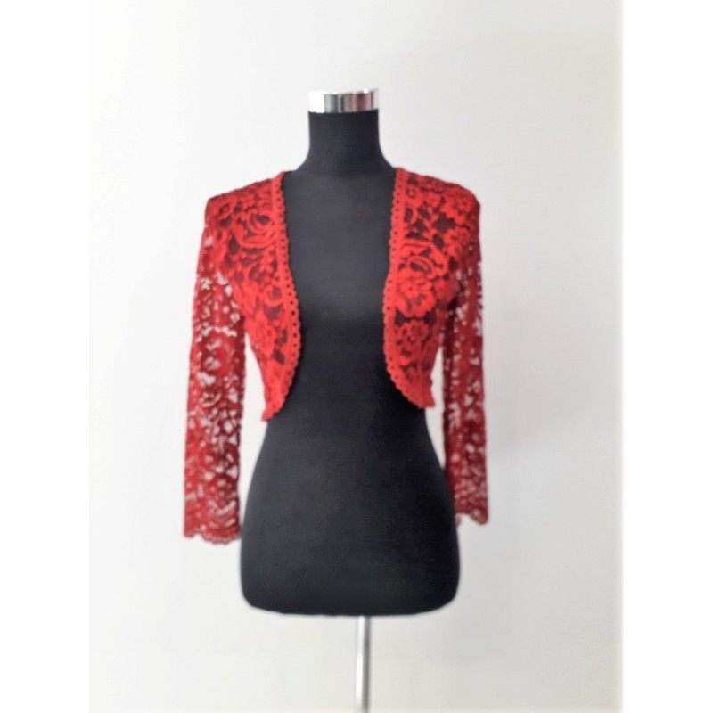 Elegant and combinable torera with lace in red