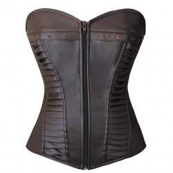 Sexy and current corset in brown leatherette